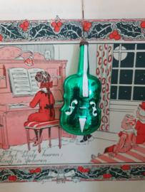 Oude kerstbal: Viool in groen met witte deco