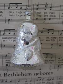 Oude/antieke kerstbal: Klok wit/zilver deco. G.D.R.