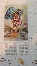 Bijzondere oude kaart uit 1961, met kalendertje! ongelopen