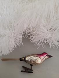 Oude kerstbal: Vogel op clip met roze kop