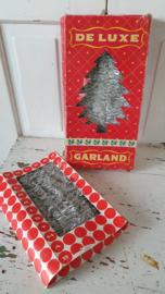 2 dozen oude lametta kerstslingers Zilver/wit