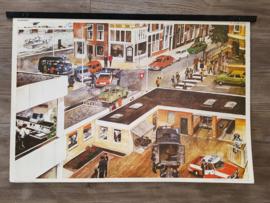 Vintage aquarel schoolplaat 'Politie' - jaren 70