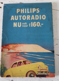 Philips Autokaart - wegenkaart - landkaart - uit 1968. Met reclame autoradio's