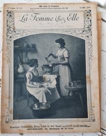 Antiek tijdschrift uit 1913: LA FEMME chez ELLE. Met patroonblad