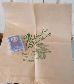 Oude/antieke grote waszak HOLLANDIA Stoomwasserij + pak ATA waspoeder