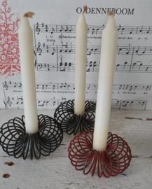 set van  3 Oude kaarsklemmen - kaarsenstanders van draad