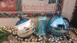 Setje van 3 oude/antieke kerstballen in blauw/turquoise