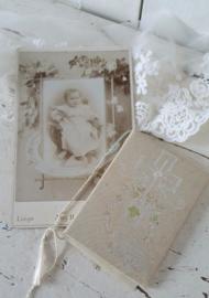 Lief antiek Doopboekje uit 1925 + antieke kabinetfoto begin 1900