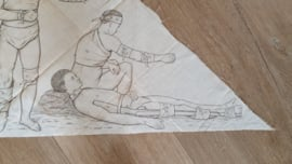 Bijzonder! Der erste Verband vlgs Professor Esmarch uit 1890. Driekante doek met 6 Lithografieën