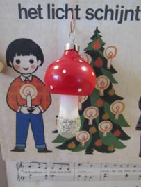 Oude/antieke kerstbal: Paddenstoel. Czechoslovakia