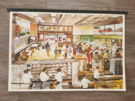 Vintage aquarel schoolplaat 'Postkantoor' - jaren 70