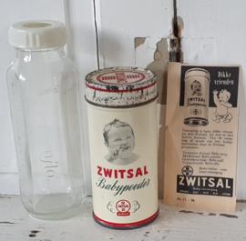 Oude ZWITSAL bus Kinderpoeder + glazen zuigfles + oude originele Zwitsal advertentie