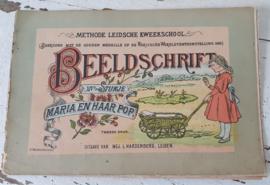 Rond 1900: Schitterend antiek boekje: BEELDSCHRIFT XIVe Stukje. MARIA EN HAAR POP. Methode Leidsche Kweekschool