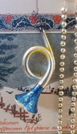 Oude/antieke kerstbal: Trompet - Hoorn met deco. Werkende toeter!