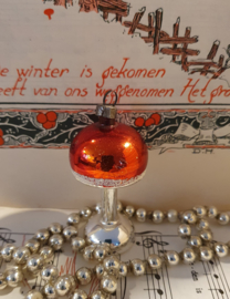 Oude/antieke kerstbal: Schemerlanpje in zilver/rood