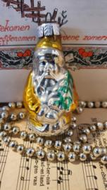 Oude/antieke G.D.R. kerstbal: Kerstman in oud goud met boompje