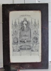 Prachtige, heel oude Franse Communieprent uit 1879. In originele lijst