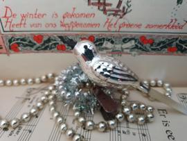 Oude/antieke kerstbal: Vogel Zilver, op clip