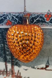 Oude/antieke kerstbal: Prachtig HART in reliëf