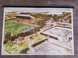 Vintage aquarel schoolplaat 'Sport en Spel' - jaren 70