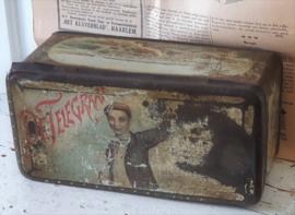 Zeldzaam! Sigarenblik De Telegraaf, ca. 1910