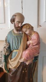 Prachtig oud beeld van gips: St. Jozef met het kindje Jezus. + Gratis bidprentje