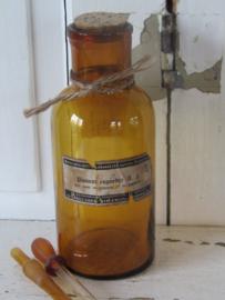 Antieke amberkleurige apothekersfles PUIMSTEENPOEDER. Brocades - Stheeman