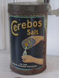 Antiek sleets zoutblikje CEREBOS SALT.  ca. 1900