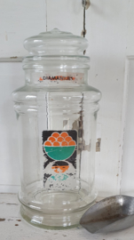 Oude glazen Snoeppot: TONNEMA; Rang - Diamantjes