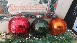 Set van 3 stuks oude/antieke kerstballen in mooie oude kleuren