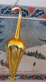 Oude/antieke kerstbal: Paraplu - parasol in oud goud. 13 cm. lang