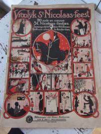 Antiek Sinterklaasboek uit 1925: VROOLIJK St. NICOLAAS-FEEST.  H.A. Almoes