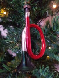 Antieke kerstbal: Trompet, werkende TOETER!