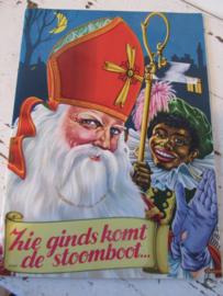 Oud Sinterklaasboek ZIE GINDS KOMT DE STOOMBOOT.  Illustraties Rie Cramer