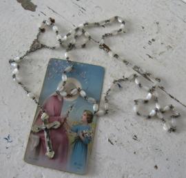 Prachtige oude parelmoeren Rozenkrans met bidprentje uit 1942