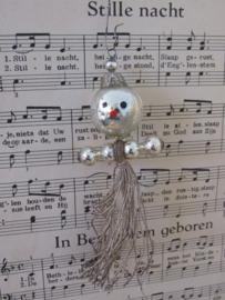 Oude/antieke kerstbal: PRINSES met kroontje. 'Jurkje' van zilverdraad.