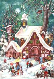 Prachtige Nostalgische Adventskalender SNEEUWPRET - C