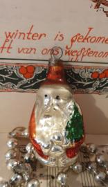 Oude/antieke kerstbal: Schattig oud kerstmannetje