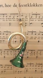 Antieke kerstbal: Trompet/Hoorn Groen met deco. Werkend