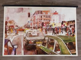 Vintage aquarel schoolplaat 'Verkeer in de stad' - jaren 70