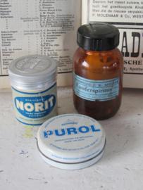 3-delige set oude Apothekersverpakkingen: PUROL, NORIT en Kamferspiritus