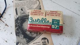 2 stukken oude CASTELLA Schoonheidszeep, met wikkel + gratis advertentie uit ca. 1950