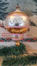 oude/antieke kerstbal: Bijzonder, tol/luchtballonvormig ornament met prachtige deco. ca. 11 cm. hoog
