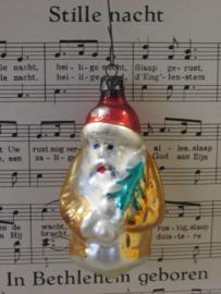 Oude/antieke kerstbal: Kerstman met boom. Bijzondere kleuren. Hangend