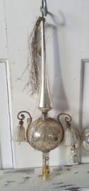 Oude/antieke Piek parelmoer met leonisch draad, Tinsel, pluim en 2 klingelende klokjes