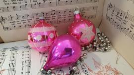 Set van 3 prachtige oude kerstballen in Fuchsiaroze