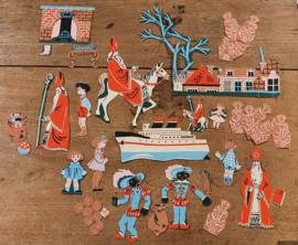 Uit 1959: 43 Sinterklaasfiguren voor op het viltbord. + handleiding