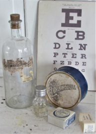 4-delige set oude/antieke medische flesjes/verpakkingen. o.a. Zuiveringszout