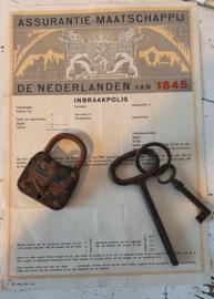 Vooroorlogse INBRAAKPOLIS + oud hangslot + oude HONIG sleutels