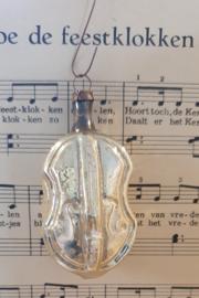 Oude/antieke kerstbal: Viool - Cello?  met witte deco